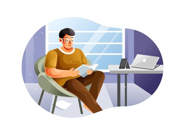 デジタルデトックスのビジュアルのための本を読んでいる少年