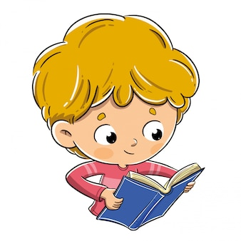 Boy reading a book happily and carefully