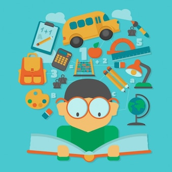 Boy reading a book with floating school elements