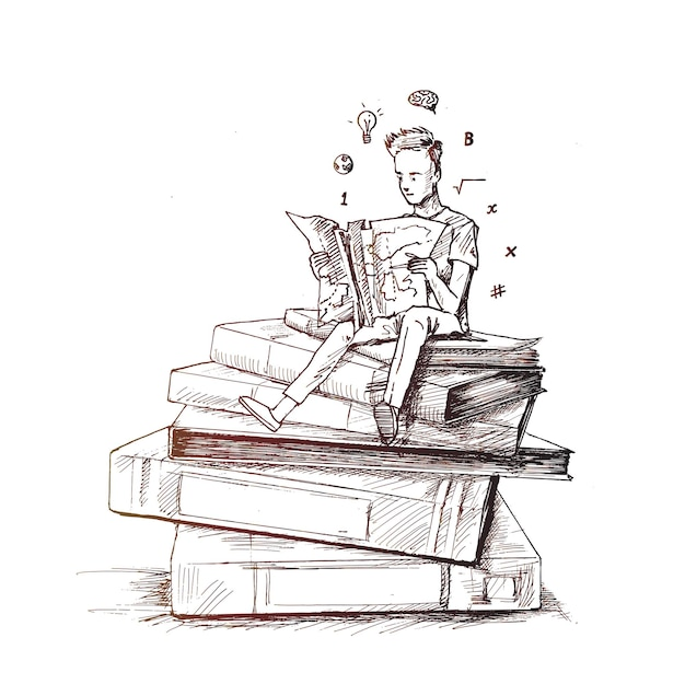 Boy reading books  hand drawn sketch vector illustration