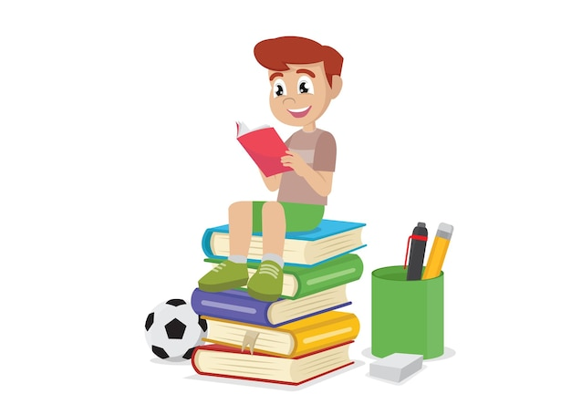 Boy reading books vector eps10