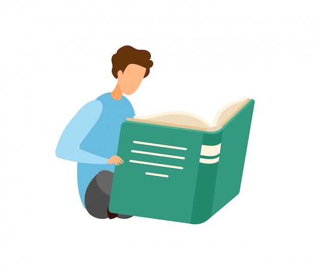 Boy reading novel cartoon