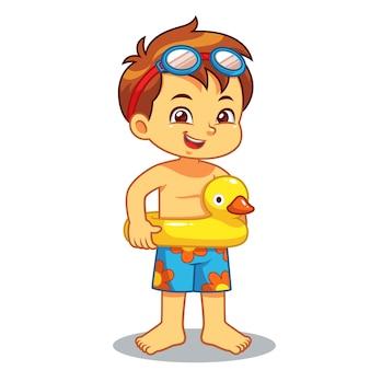 Мальчик готов плавать с утиным плаванием