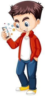 Boy in red shirt using smart phone cartoon character isolated