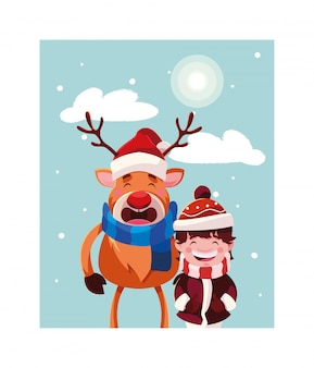 Boy and reindeer with hat and scarf in winter landscape