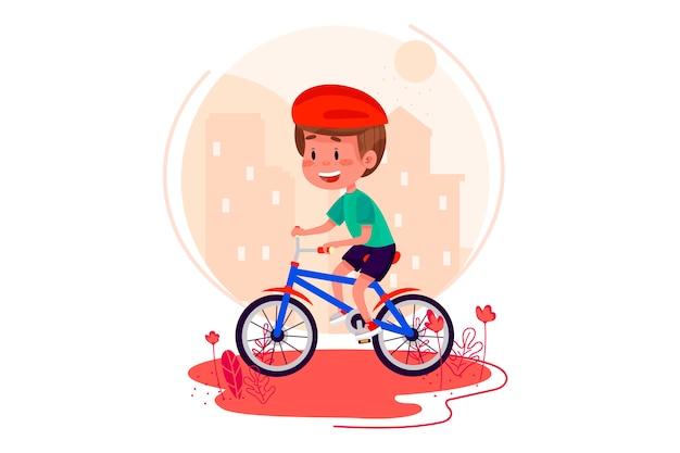 마을에서 소년 승마 자전거입니다. 여름 어린이 야외 활동. 외부 여름에 자전거를 타는 아이. 웹 디자인 배경 가진 현대 문자 그림입니다.