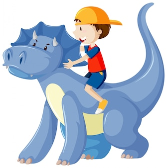Boy riding on dinosaur cartoon character isolated on white background