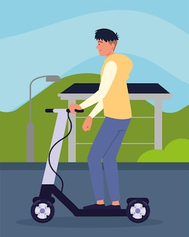 Мальчик езда электрический самокат мультфильм