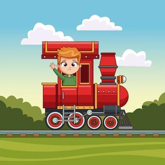 列車に乗っている男の子