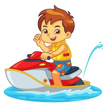 Boy riding jetski on the beach