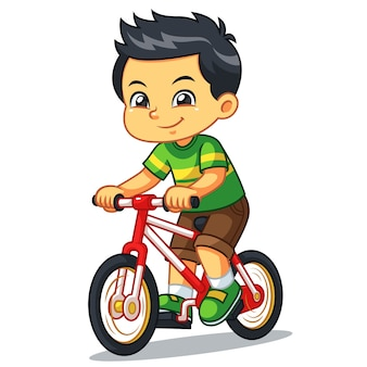 Boy riding new red bicycle.