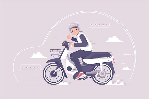 古いオートバイのイラストの背景に乗る少年