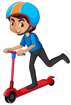 Boy riding on scooter on white background