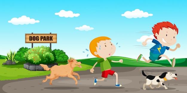 Boy run away from dog