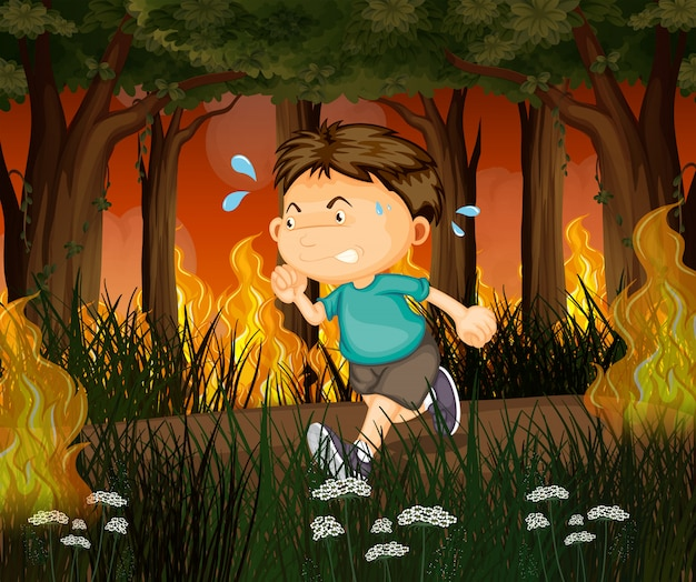 A boy run away from wildfire forest