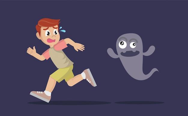 Boy running away from ghost.