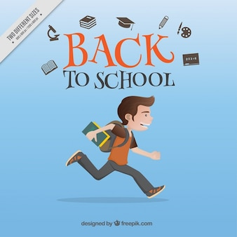 Boy running to go to school background