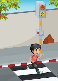 A boy running while crossing the street