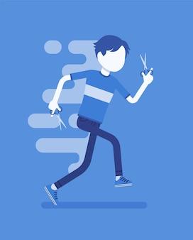 ハサミで走っている少年