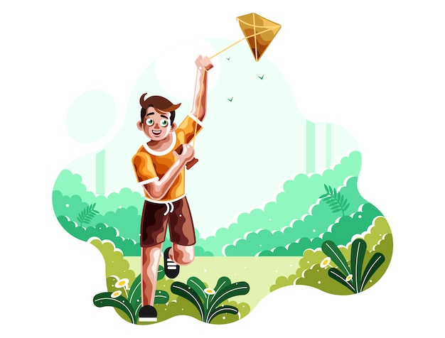A boy runs flying a kite illustration