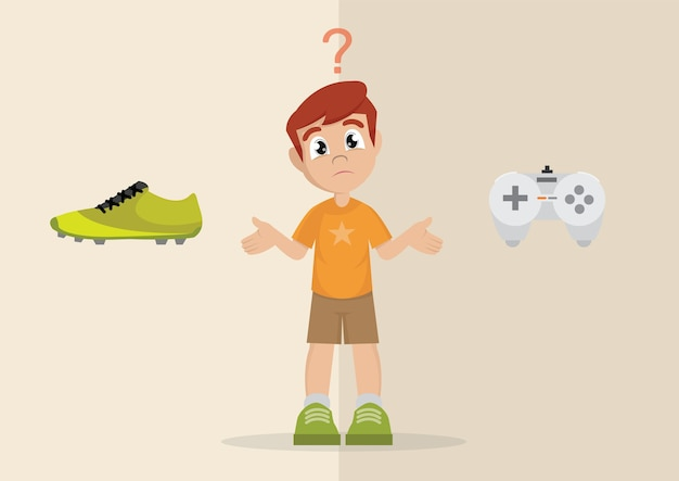 Boy's choice between sport or play games