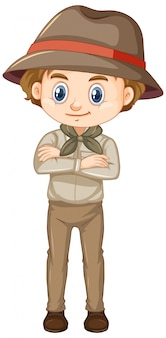 Boy in safari costume isolated