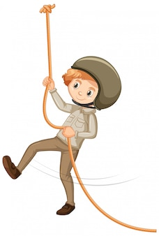 Boy in safari costume on white