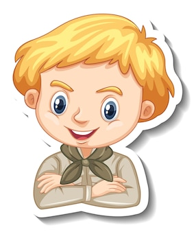 Boy in safari outfit cartoon character sticker