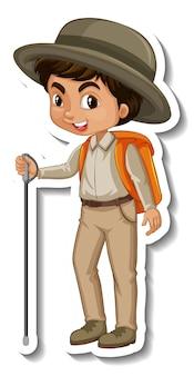 Ragazzo in costume da safari adesivo personaggio dei cartoni animati