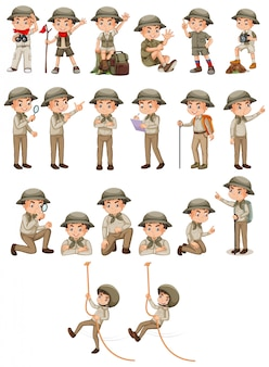 Boy in safari outfit doing different activities on white