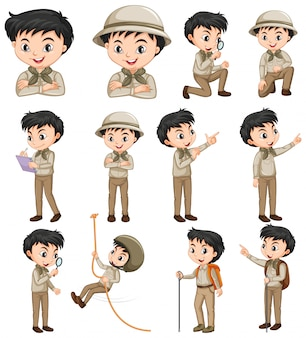 Boy in safari outfit doing different activities