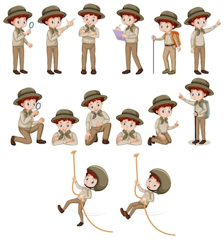 Boy in safari outfit doing different poses