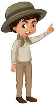 Boy in safari outfit