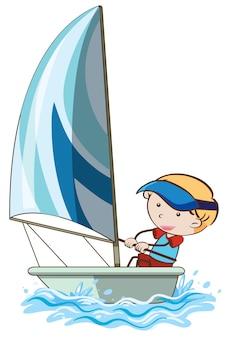 A boy sail the boat