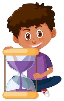 Boy and sand hourglass