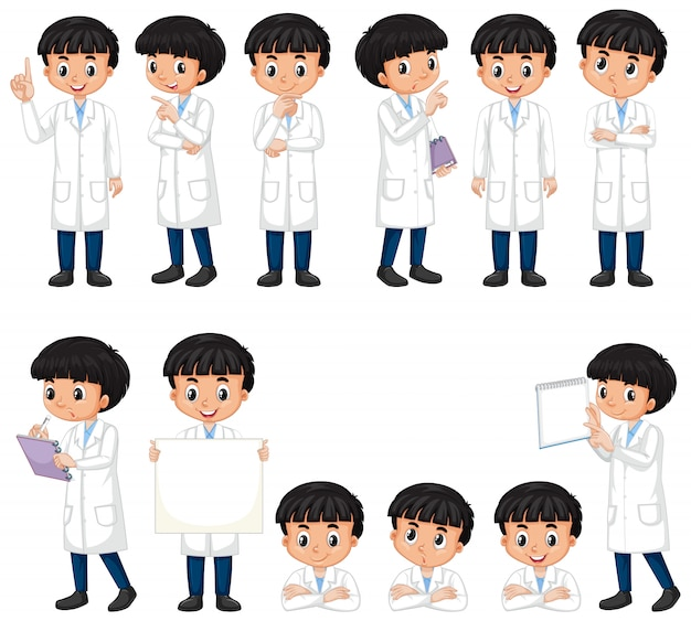 Boy in science gown in different poses on white