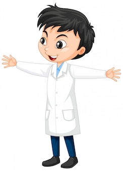 Boy in science gown on isolated