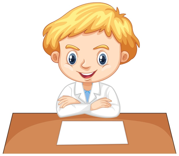 Boy in science gown on white background