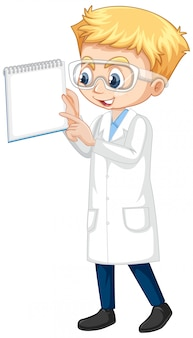 Boy in science gown