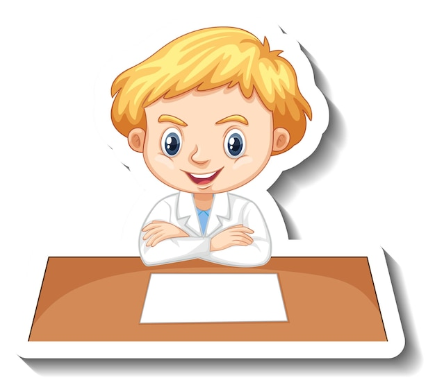 Boy in scientist outfit writing on empty desk