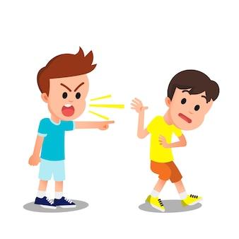A boy scolding his friend in a loud voice