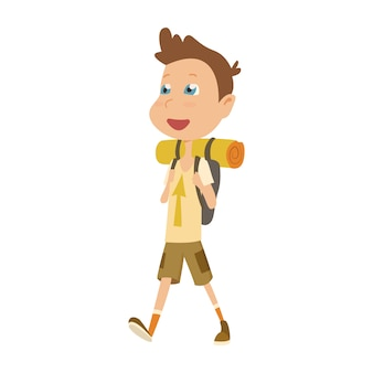 Boy scout camping outfit, summer camp activities vector illustration.