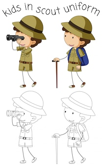 Boy scout character on white background