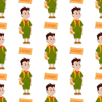Boy scout seamless pattern camp outdoor nature kid scouting vector