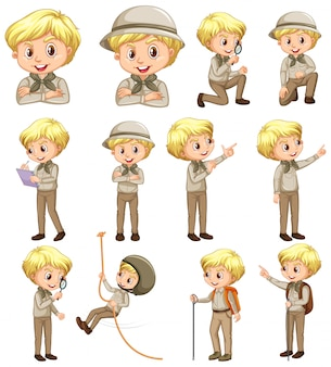 Boy in scout uniform doing different activities on white background