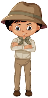 Boy in scout uniform standing on white