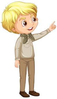 Boy in scout uniform on white