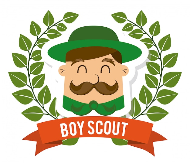 Boy scout on white