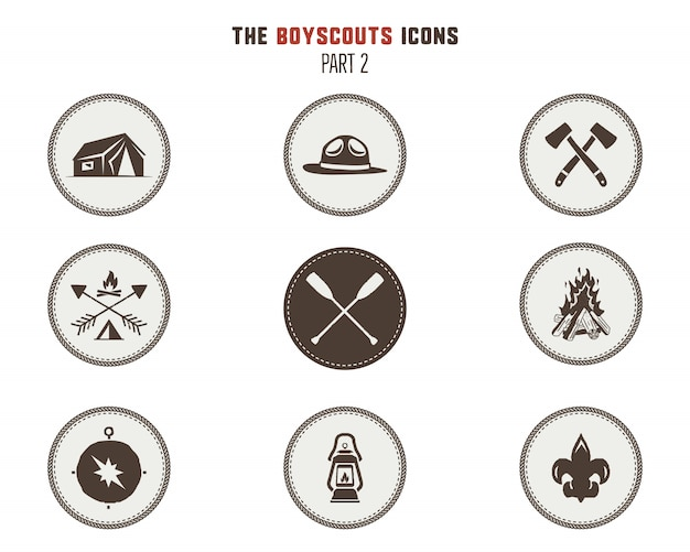 Boy scouts icons, patches. camping stickers. tent, axe, campfire, compass and others. stock vector illustration isolated