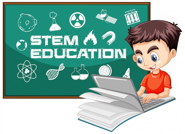 白い背景で隔離の茎教育ロゴ漫画のスタイルでノートパソコンを探している少年